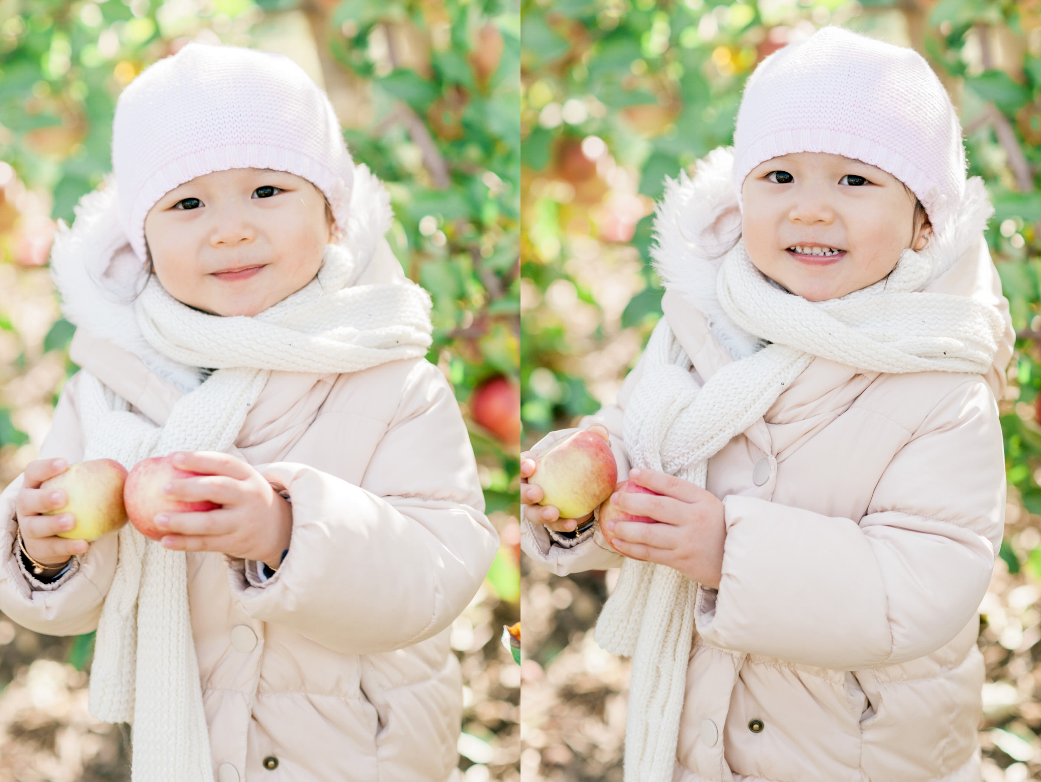 little girl showing off her apple