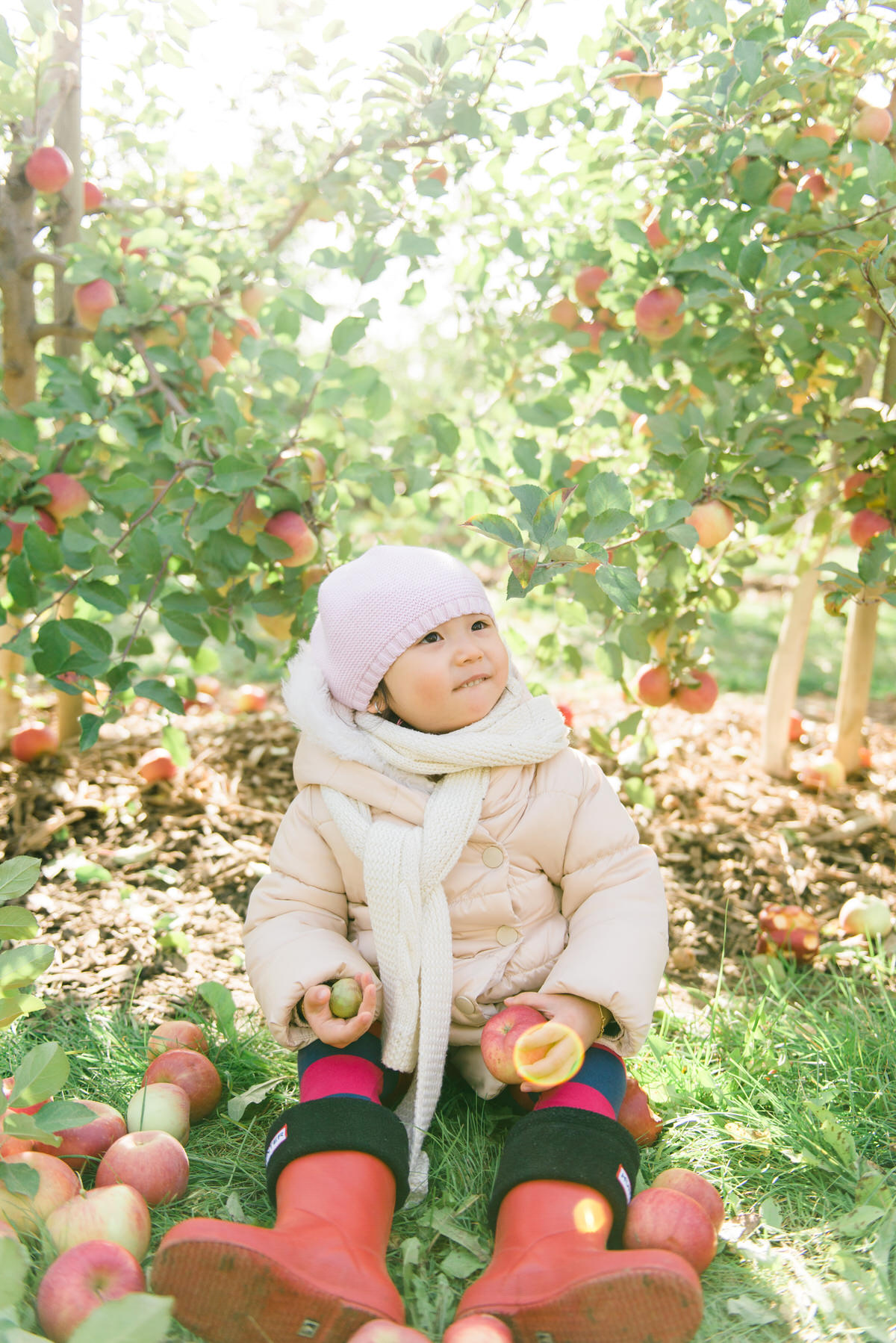Baby girl sitting at the orchard