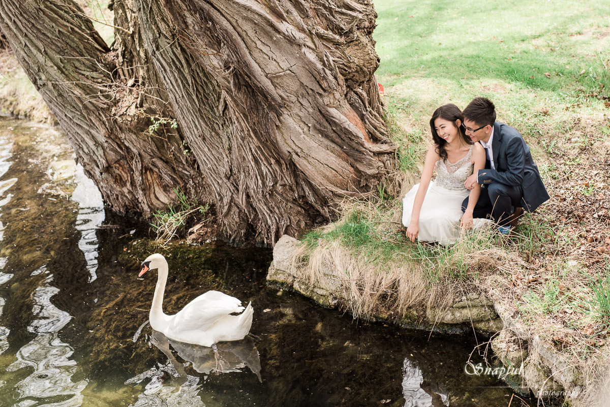 couple posing with a swan on Centre Island