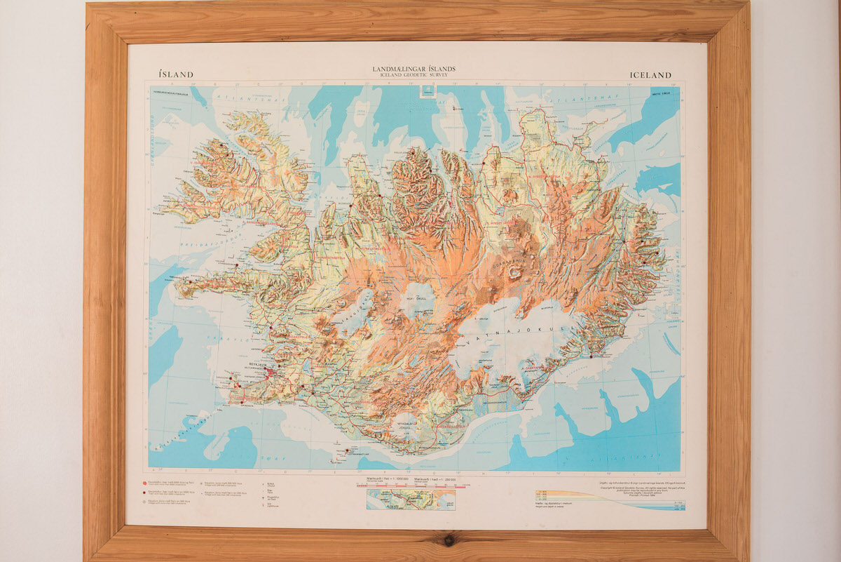 Old Map of Iceland on a wall