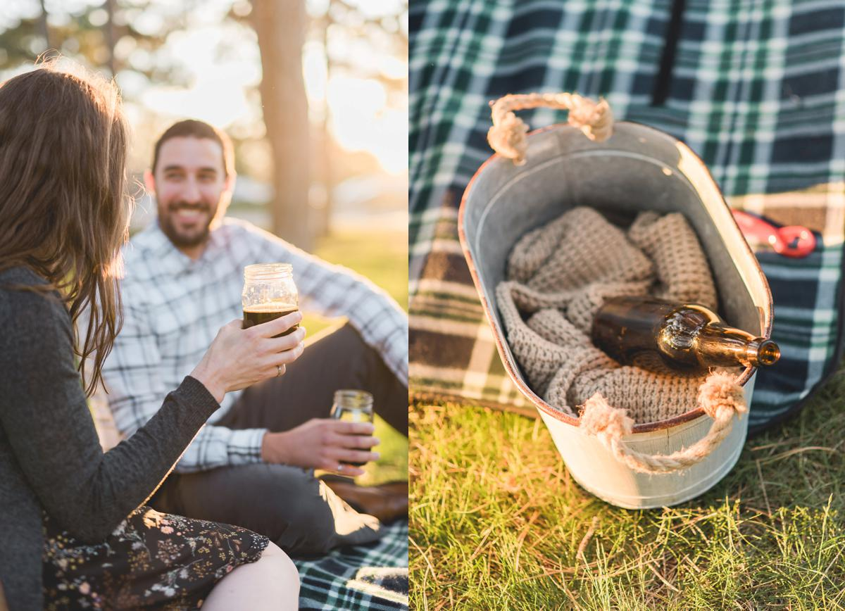 Home brewed beer in basket