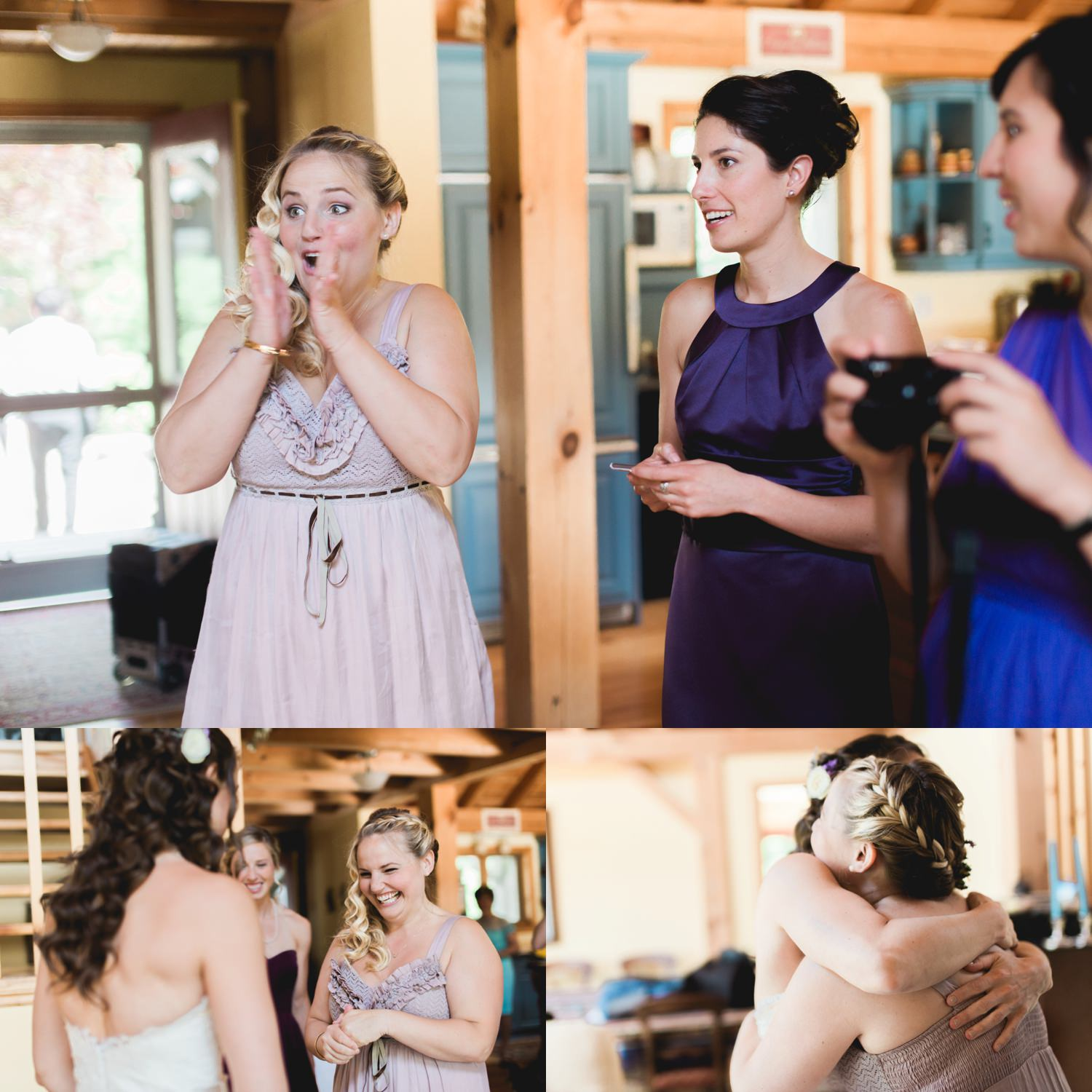 Bridesmaid reacts to seeing the bride