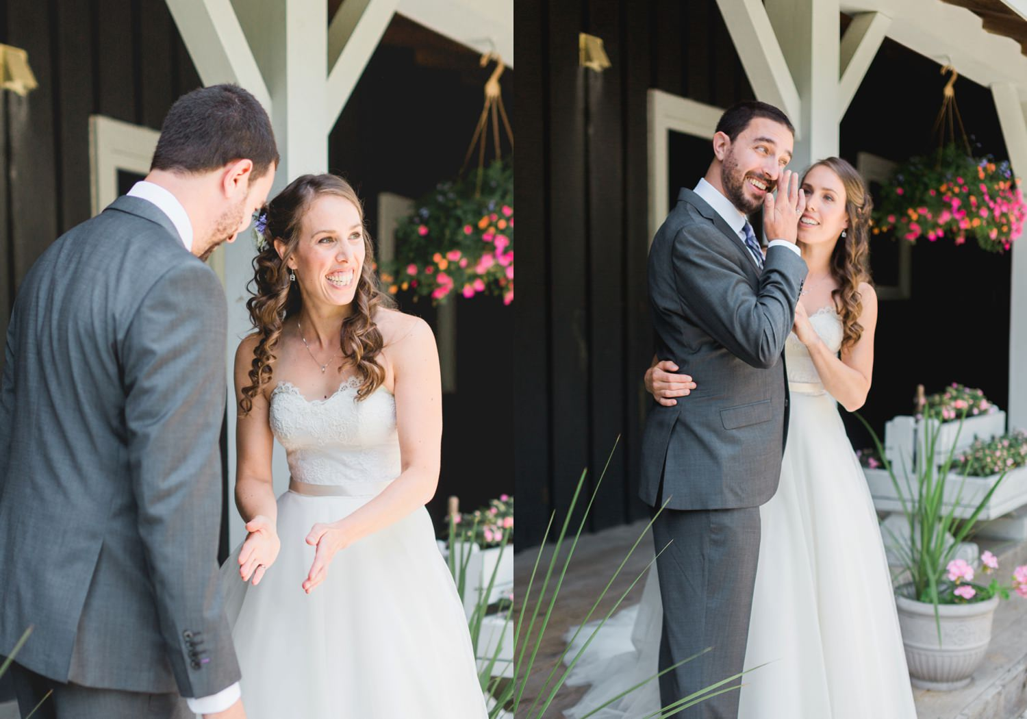 Groom sheds a tear during the first look